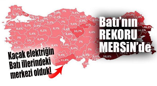 BATI İLLERİNDE KAÇAK ELEKTRİK REKORU MERSİN'DE… VAY MERSİN VAY!